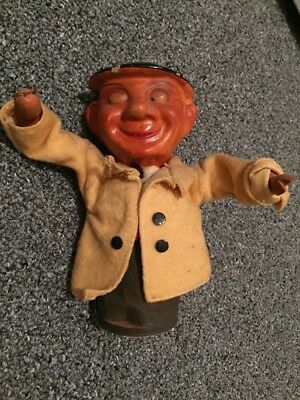 Antique Vtg GERMAN spring Toy Puppet Drunk Wino Man Alcohol Whiskey advertisment