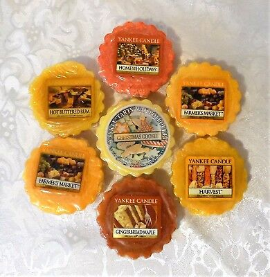 7 Yankee Candle WAX TARTS CHRISTMAS COOKIE Gingerbread Maple FARMER'S MARKET Lot