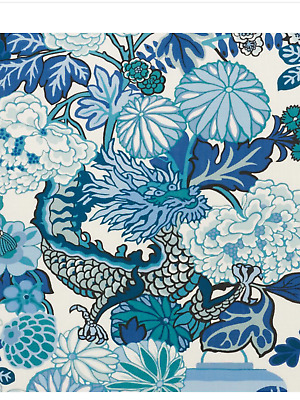 SCHUMACHER CHINOISERIE CHIANG MAI DRAGON FABRIC Indoor/ Outdoor NEW! China Blue