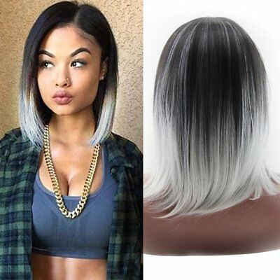 Fashion Women Short Straight Wig Cosplay Hair Awesome Graduated Color EN