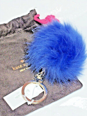 Kate Spade Key Fob Keychain Blue Faux Fur  Pom Pom New with Tags keychain only