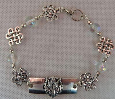 Silver Celtic Wolf Link Bracelet handmade New Accessories Fashion Beaded
