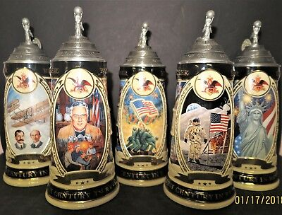 5 pc Anheuser Bush Budweiser Stein 20th Century in Review ALL 5 pcs in Series