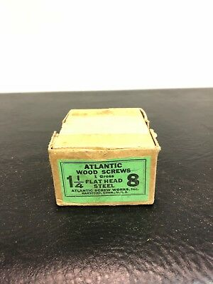 Vtg Atlantic #8 X 1 1/4 Inch Flat Head STEEL SLOTTED Wood Screws 74 box