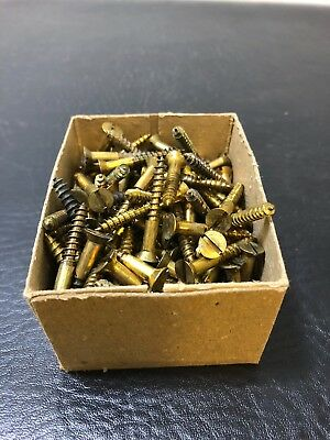 Vtg Atlantic #8 X 1 1/4 Inch Flat Head BRASS SLOTTED Wood Screws 92 box