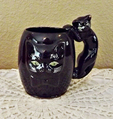 Vintage Black Cat Face Mug with Cat Handle Green Eyes