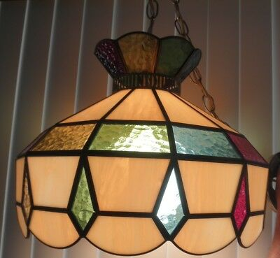 Large Vintage Stained Glass look Ceiling Hanging Lamp Tiffany style Mid Century