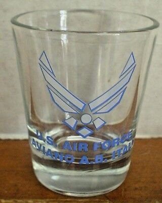 U.s. Air Force Shot Glass Aviano A,b. Italy With Crest Fantastic Shape Vintage