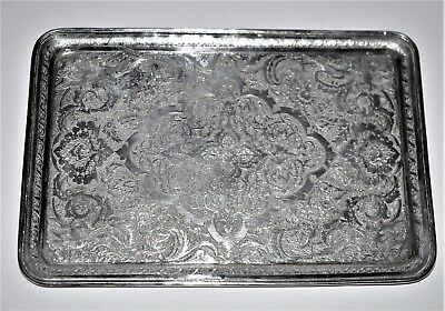Antique Silver Islamic Tray  Signed  Birds Flowers Fine Solid Silver