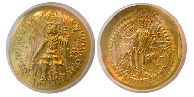 PCW-I1555-INDIA, KUSHAN EMPIRE. Vasudeva I. Ca. AD. 191-230. Gold. Lovely style.