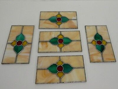 Vintage Leaded Stained Glass Panels 5 Piece Set