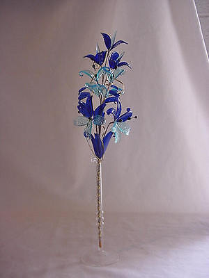 glass flowers TURQUOISE AND COBALT BLUE