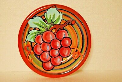 "Vintage Decorative Plate Grapes 8"" Diameter  Made In Italy  Pre-Owned Free Ship"