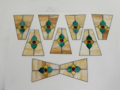 Vintage Leaded Stained Glass Panels 9 Piece Set