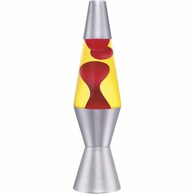 LARGE 36cm Motion Lava Lamp with Silver Base Red Wax Yellow Liquid Night Light
