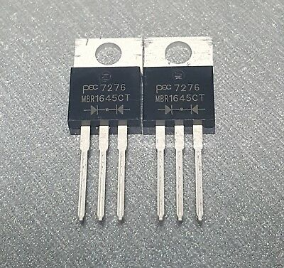2pcs MBR1645CT Schottky Rectifier 45V 16A Dual Common Cathode TO-220