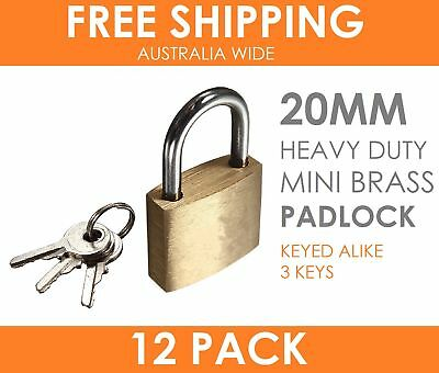 12 x HEAVY DUTY 20MM Brass Padlock w/ 3 Keys Travel Luggage Suitcase Locker Lock