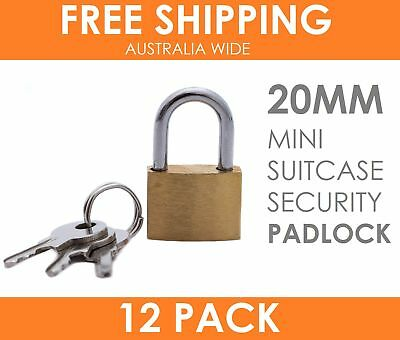 12 x Mini Solid Brass Padlock 20MM Travel Luggage Suitcase Locker Security Lock