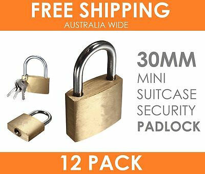 12 x Solid Brass 30MM Padlock Travel Luggage Suitcase Locker Gate Security Lock