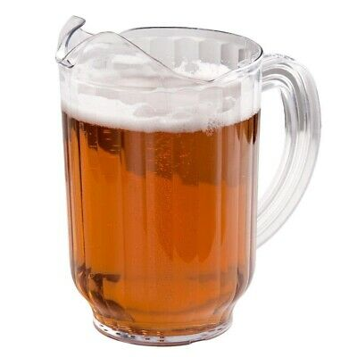 12 x Clear Plastic Restaurant Water Jug - 1 LITRE Beverage Serving Beer Pitcher