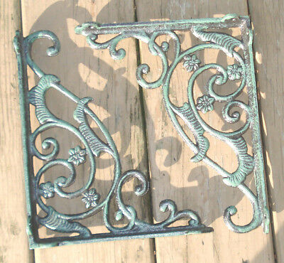 Victorian Vintage  Style Cast Iron Shelf Brackets 8'' X10'' Holes For Mounting