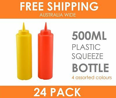24 x 500ml Plastic Squeeze Bottle Dispenser Cruet for Tomato Sauce Mustard Mayo