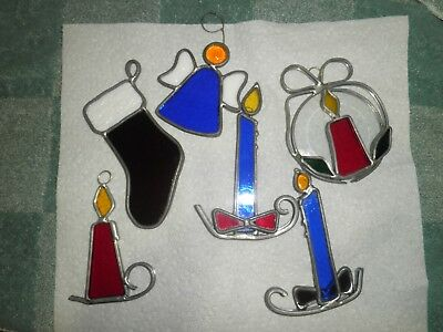 Nice Lot Set of 6 Stained Glass Christmas Window Ornaments Angel Candle Stocking