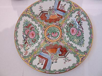 9 Pcs Vintage  Chinese  Famille  Rose Porcelain Plates Marked Two Dimension
