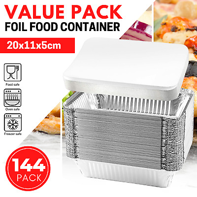 72 x Disposable Aluminium Foil Food Container Trays with Lid Roasting Roast Pan