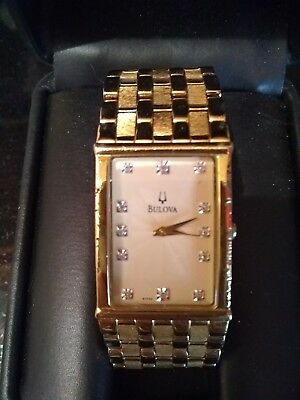 Bulova Vintage Gold And Cream  Art Deco Square Dial Flip Clasp Band Dress Watch