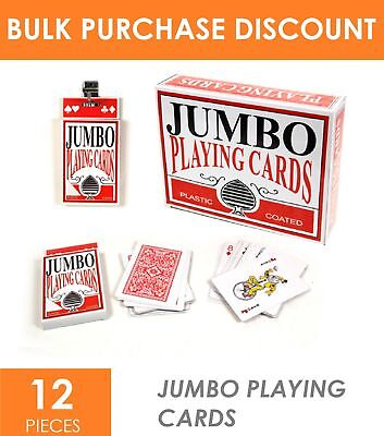 12x Deluxe Plastic Coated Jumbo Playing Cards Deck Novelty Poker Card Games Bulk
