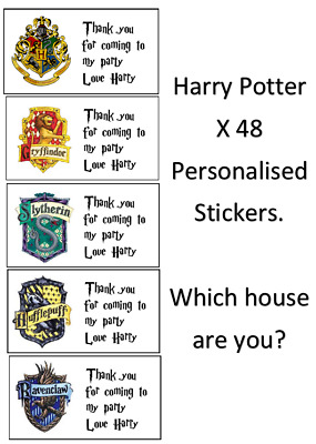 x 48 Harry Potter Stickers Party Bags Sweet Cones Thank You Personalised Message
