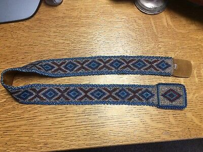 A  Hand Crafted Beaded Native American Indian Leather Belt & Buckle