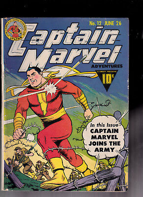 Captain Marvel 12 Joins the Army WWII Cover traced logo Hitler sty Ray Miller