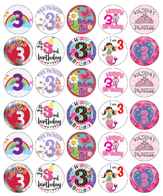 30x 2nd Birthday Girl Pink Cupcake Toppers Edible Wafer Paper Fairy Cake Toppers