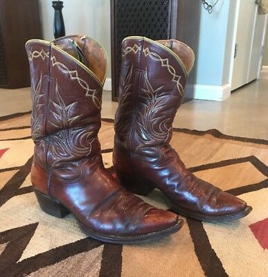 VTG 50s 60s Bronco Boot Co El Paso Texas 9.5 Western Cowboy Square N Toe Brown