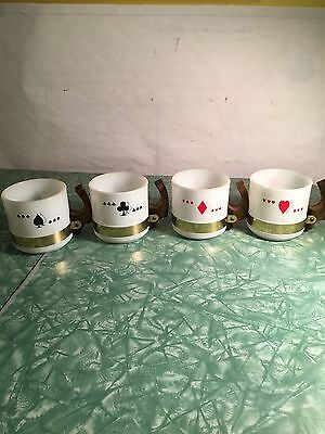 Vintage Retro Siesta Ware Milk Playing Card Party Mugs Cups White Glass Wood Han