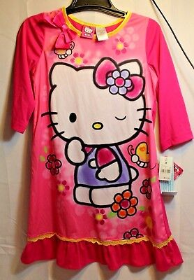 NWT Girls Pink Hello Kitty long sleeve nightgown