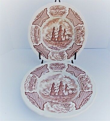 Lot of 2 Alfred Meakin Fair Winds The Grand Turk Large Rim Soup Bowls Nautical