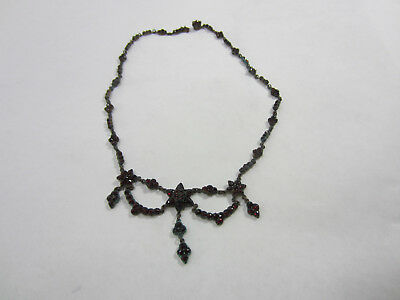 Antique Victorian Brass & Garnet? Drape Style Necklace