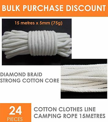 24 x DIAMOND BRAID COTTON Clothes Line Tent Camping Rope Cord 15M x 5mm Bulk
