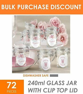 72 x 240ml Glass Jar with Lid - Party Wedding Favours Gift Bomboniere Lolly Jars