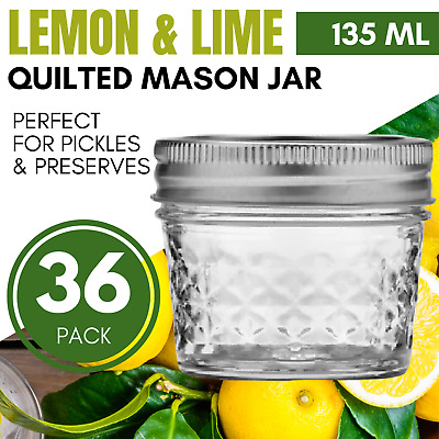 72 x 120ml Quilted Glass Jars with Lid  Honey Jam Jar Wedding Favours Bomboniere