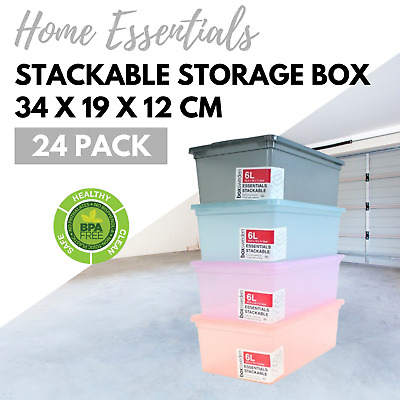 24 x 6L Multi-Colour Stackable Plastic Storage Boxes with Lid Box Tubs Tub Bins
