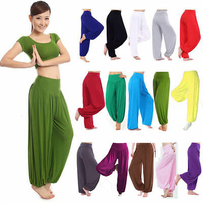 Womens Harem Aladdin Pants Causal Baggy Gypsy Loose Dance Yoga Genie Trousers