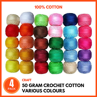 4 x 100% Cotton 50g 2 Ply Natural Soft Crochet Knitting COTTON 20 Colours CHOICE