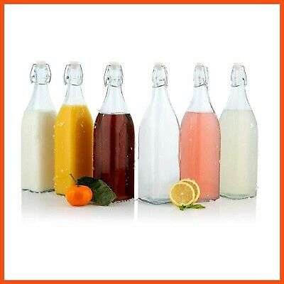 12 x Square Glass Water Bottle 1 Litre - Swing Top Bottle Flip Top Glass Bottles