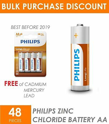 48 x Genuine New PHILIPS Long life Zinc Carbon AA Batteries Battery Long Lasting