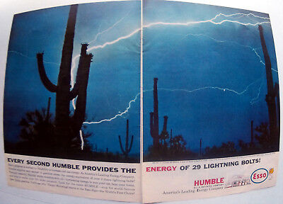 1961 Humble Esso Power Of 29 LightningBolts -Original 2 Page10.5x13.5 MagazineAd