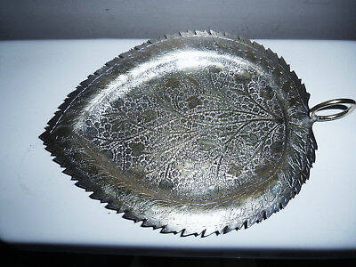 Fine Old Hand Engraved and Chased Silver on Brass Kashmir India Leaf Shaped Dish